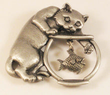 "Load image into Gallery viewer, Cat after Fish in Fishbowl Pewter Brooch. Sign ""JJ"" Jonette Jewelry Co."