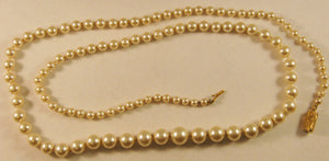 "Signed ""Narica"" 30"" Strand of Approximately 0.3 to 0.9mm Faux Pearl Necklace"