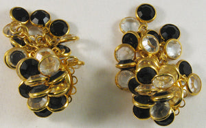 "Signed ""Sorrelli"" Clipback Earrings with Black and Clear Bezel-set Austrian Crystal"