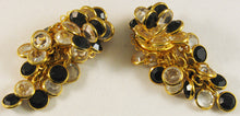 "Load image into Gallery viewer, Signed ""Sorrelli"" Clipback Earrings with Black and Clear Bezel-set Austrian Crystal"