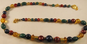 "25"" Signed ""LC"" Liz Claiborne Multicolor Beaded Necklace w/Fish-hook Clasp"