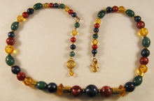 "Load image into Gallery viewer, 25"" Signed ""LC"" Liz Claiborne Multicolor Beaded Necklace w/Fish-hook Clasp"
