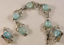 "Load image into Gallery viewer, Signed ""Coro"" Silver-tone w/Clear Rhinestones & Blue-Green Faux Opal Cabochons Set"