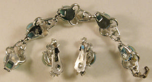 "Signed ""Coro"" Silver-tone w/Clear Rhinestones & Blue-Green Faux Opal Cabochons Set"
