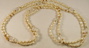 "60"" Baroque Faux Pearl Necklace. Signed ""Monet"""