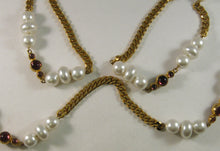 "Load image into Gallery viewer, Vintage 46"" Beads and Amethyst Bezel-set Stones Necklace on Gold-tone Chain"