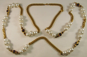 "Vintage 46"" Beads and Amethyst Bezel-set Stones Necklace on Gold-tone Chain"