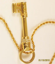 Load image into Gallery viewer, Swarovski Skeleton Key Pendant/Necklace. Signed with Swan Logo!