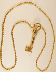 Swarovski Skeleton Key Pendant/Necklace. Signed with Swan Logo!