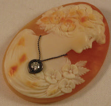 Load image into Gallery viewer, Unmounted Shell HABILLE Cameo with Genuine (approx. 3mm 0.15 ct.) Faceted Diamond