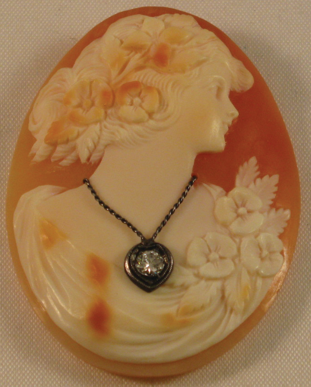 Unmounted Shell HABILLE Cameo with Genuine (approx. 3mm 0.15 ct.) Faceted Diamond