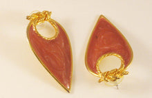 Load image into Gallery viewer, Tear-drop Gold-tone Pink Enameled Pierced Earrings