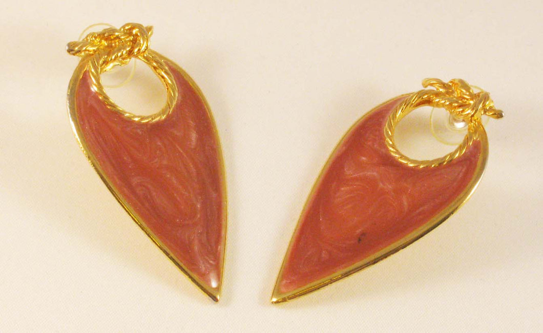 Tear-drop Gold-tone Pink Enameled Pierced Earrings