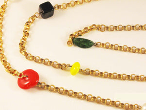 "Vintage 28"" Double Chain/56"" Single Chain with Mixed Stylized Glass Stones and Beads"