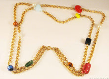 "Load image into Gallery viewer, Vintage 28"" Double Chain/56"" Single Chain with Mixed Stylized Glass Stones and Beads"