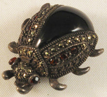 Load image into Gallery viewer, Sterling Beatle Bug Brooch w/Garnet and Marcasite Stones and Black Enamel