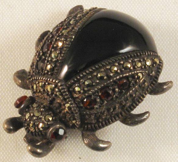 Sterling Beatle Bug Brooch w/Garnet and Marcasite Stones and Black Enamel