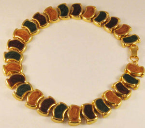"Beautiful 18"" Gold-tone with Multi-colored Enameling Link Necklace"