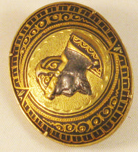 Load image into Gallery viewer, Antique c1900 DAMASCENE Conquistador Soldier CAMEO Style Oval Brooch