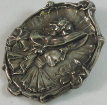 Load image into Gallery viewer, Sterling Cameo Art Nouveau Brooch of Victorian-dressed Woman