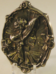 Sterling Cameo Art Nouveau Brooch of Victorian-dressed Woman