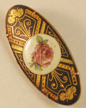 Load image into Gallery viewer, Spanish-made Damascene Brooch with Inlaid Rose