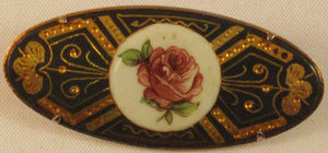 Spanish-made Damascene Brooch with Inlaid Rose