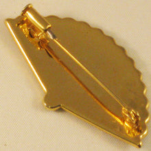 Load image into Gallery viewer, Damascene Gold and Silver Inlaided Fan Brooch with Trombone Clasp