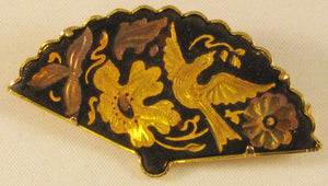 Damascene Gold and Silver Inlaided Fan Brooch with Trombone Clasp