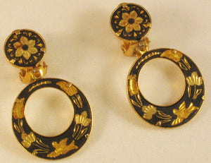 Damascene Clip Earrings
