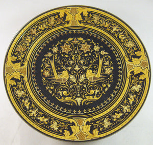 "Damascene Large 15.88 cm (6.25"") Collectible Footed Plate with Birds Motif"