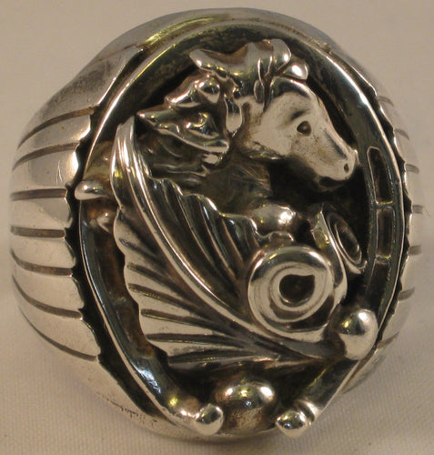 Sterling Silver Southwestern-Style Men's Horse Ring. Large Size, 12.25