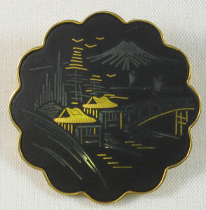 Amita Japanese Village Scene Damascene Brooch