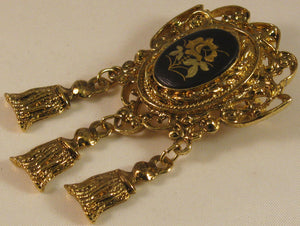 Unusual Damascene Brooch/Pendant with 3 Hanging Bell Findings