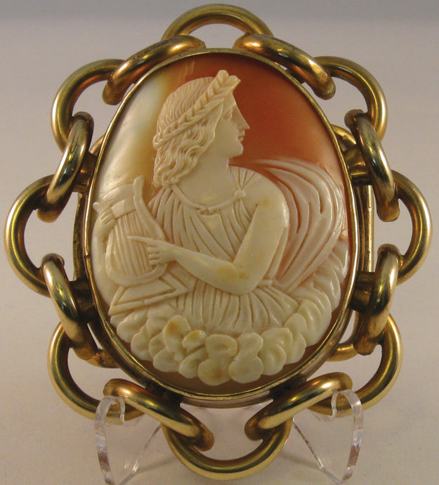 Antique Shell Cameo Belt Buckle. Possibly, Erato, Greek Goddess
