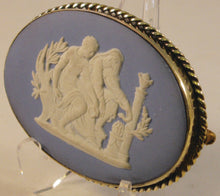 Load image into Gallery viewer, Blue Jasperware Victorian-era Wedgwood Cameo in Sterling Silver Mount