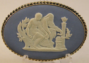 Blue Jasperware Victorian-era Wedgwood Cameo in Sterling Silver Mount