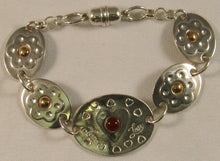 "Load image into Gallery viewer, Argentium Silver and 14k Gold 7"" Love-Heart Bracelet with Carnelian Stone"