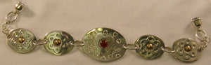 "Argentium Silver and 14k Gold 7"" Love-Heart Bracelet with Carnelian Stone"