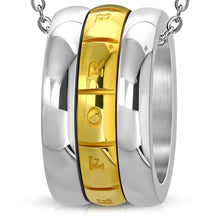 Load image into Gallery viewer, Stainless Steel and Gold-tone Love Forever Monogram Ring Spinning Pendant w/Chain