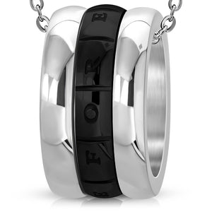 Stainless Steel and Black-tone Love Forever Monogram Ring Spinning Pendant w/Chain