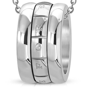 Stainless Steel Love Forever Monogram Ring Spinning Pendant w/Chain