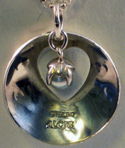 "Love Heart Pendant w/White Culture Pearl and 19"" Rolo Argentium Silver Chain"
