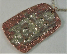 "Load image into Gallery viewer, Copper and Sterling Pendant w/18"" Sterling Heart Link Chain"