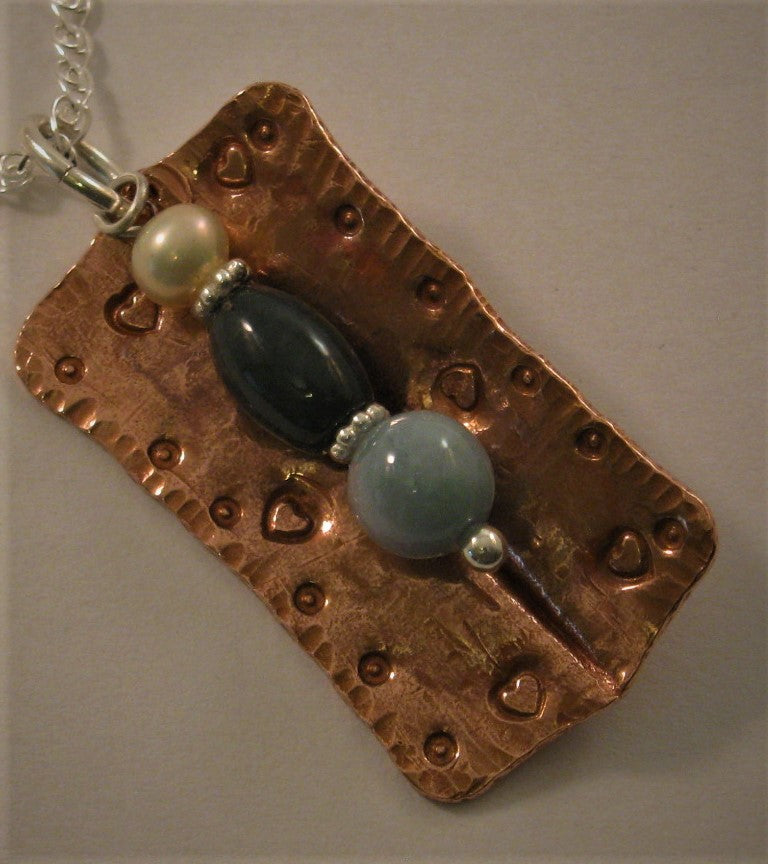 Copper & Sterling Pendant w/Cultured Pearl and 2 Jade Beads & Sterling Chain