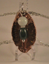 Load image into Gallery viewer, Copper with Sterling Findings Pendant w/2 Jadeite Jade Beads and Sterling Chain