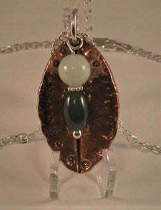 Copper with Sterling Findings Pendant w/2 Jadeite Jade Beads and Sterling Chain
