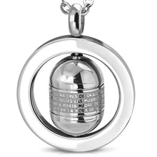 Load image into Gallery viewer, Stainless Steel Engraved The Lords Prayer In Spanish Padre Nuestro Cross Tube Spinning Circle Pendant w/Chain