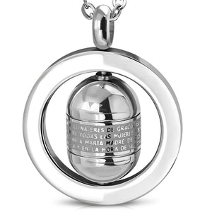 Stainless Steel Engraved The Lords Prayer In Spanish Padre Nuestro Cross Tube Spinning Circle Pendant w/Chain