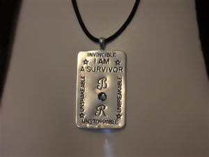 I AM A SURVIVOR Sterling/Copper Monogrammed Pendant w/Swarovski® Crystal